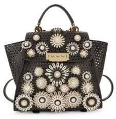 Zac Posen Eartha Faux-Pearl Embellished Leather Top Handle Bag