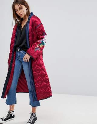 Glamorous Premium Wrap Jacket In Quilted Satin With Floral Embroidery