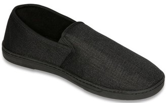 Deluxe Comfort Men's Memory Foam Slipper, Size 9-10 - Suede Vamp Checkered Lining - Memory Foam Insole - Strong TPR Outsole - Mens Slippers, Black