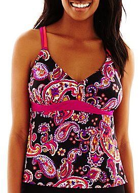 JCPenney Beach Native® Twisted Paisley Strappy X-Back Tankini Swim Top