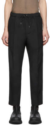 Oamc Black Cropped Drawcord Trousers