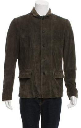 AllSaints Suede Button-Up Jacket
