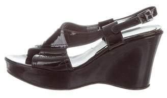 Via Spiga Patent Leather Wedge Sandals