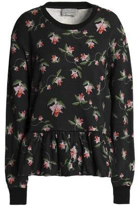 Preen by Thornton Bregazzi Floral-Print Cotton-Terry Peplum Sweatshirt