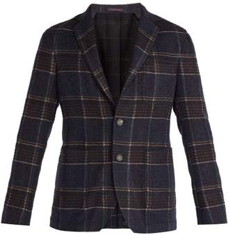 The Gigi - Angie Single Breasted Checked Tweed Blazer - Mens - Navy