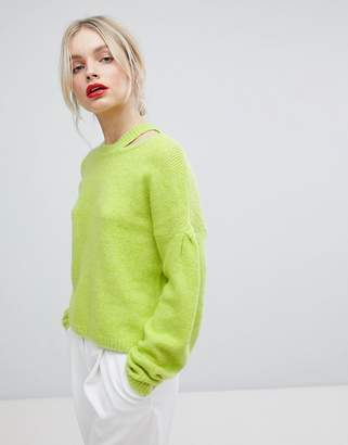 Asos DESIGN Sweater with Volume Sleeve and Cut Out Neck