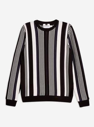 Topman Mens Brown Navy and Black Vertical Stripe Sweater