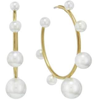 Irene Neuwirth Graduated Akoya Pearl Hoop Earrings - Yellow Gold