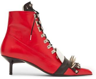 Marques Almeida Marques'almeida - Spike Embellished Lace Up Kitten Heel Boots - Womens - Black Red