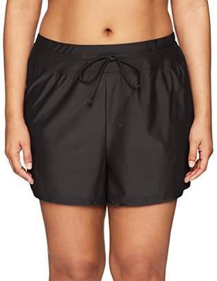 24th & Ocean Women's Plus Size Solid Front Tie Swim Short Bikini Swimsuit Bottom