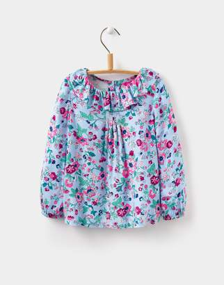 Joules Clothing Secret Garden Floral Fay Ruffle Neck Top 1yr