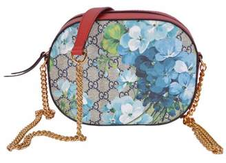 Gucci Chain Crossbody GG Supreme Blooms Chain Strap Small Blue/Red