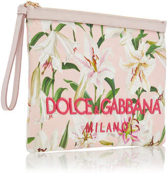 Dolce & Gabbana Floral-Print Leather Pouch