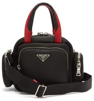 Prada Logo Plaque Nylon Shoulder Bag - Womens - Black Red