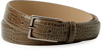 Armani Collezioni Men's Snakeskin-Embossed Leather Belt, Brown