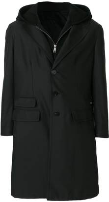 Neil Barrett layered hooded coat