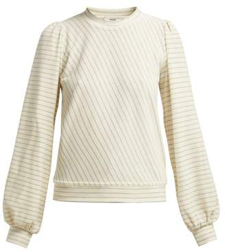 Ganni Hawley Striped Cotton Blend Velour Top - Womens - Ivory