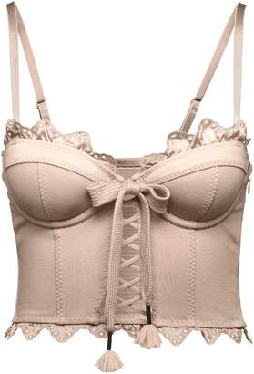 Ruffle Lace Trapunto Bustier