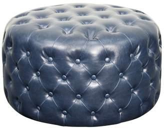 Apt2B Santee Bonded Leather Round Tufted Ottoman NAVY