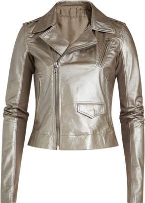 Rick Owens Metallic Leather Jacket with Virgin Wool Sleeves