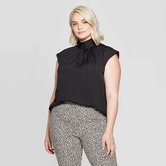 Who What Wear Women's Plus Size Sleeveless High Neck Back Button Blouse - Who What WearTM