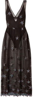 Super Star Fil Coupé Cotton-blend Tulle Midi Dress - Black