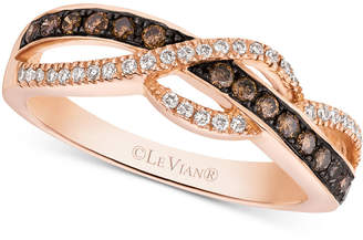 LeVian Le Vian Chocolatier Diamond Braided Ring (1 ct. t.w.) in 14k Rose Gold