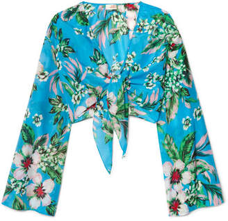 Diane von Furstenberg Cropped Floral-print Cotton And Silk-blend Wrap Top - Blue