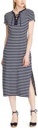 Chaps Women's Lace-Up Striped Midi Dress