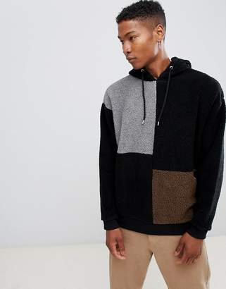Asos DESIGN Oversized Borg Hoodie With Color Blocking