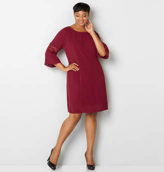 Avenue Crochet Inset Crepe Dress