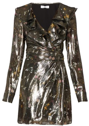 Altuzarra Lennox Floral Print Silk Blend Lame Mini Dress - Womens - Gold Multi