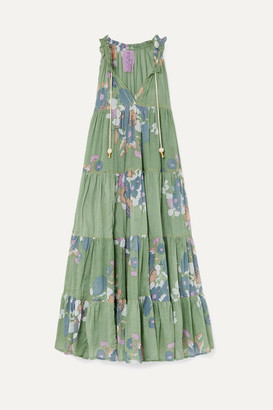 Yvonne S Hippy Tiered Floral-print Cotton-voile Maxi Dress - Light green