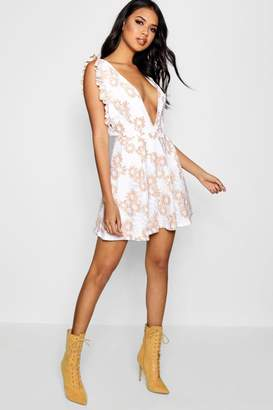 boohoo Embroidery Frill Plunge Skater Dress