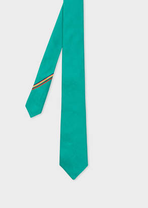 Paul Smith Men's Teal Narrow Silk Tie With 'Artist Stripe' Detail
