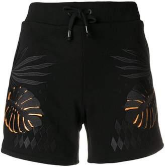 Versace leaf print drawstring shorts
