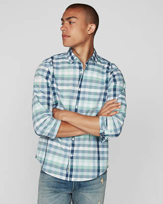 Express Classic Soft Wash Plaid Button-Collar Shirt