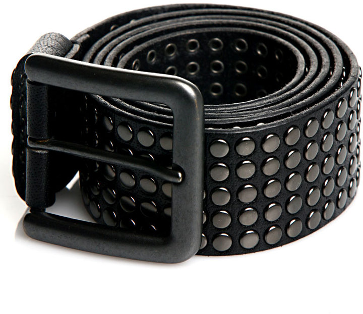 Rough Roses Five-Row Studded Belt in Black