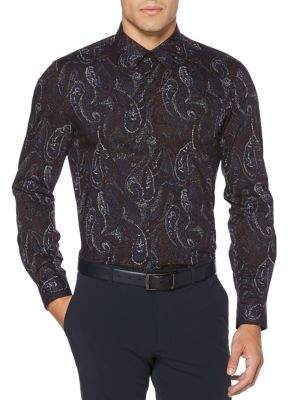 Perry Ellis Stretch Paisley Print Long Sleeve Button Down Shirt