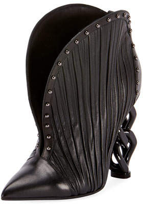 Balmain Ines Pleated Studded Chain-Heel Booties