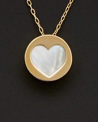 Mother of Pearl Italian Gold 14K Mother-Of-Pearl Heart Necklace