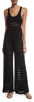 Mara Hoffman Mesh-Stripe Coverup Jumpsuit $225 thestylecure.com