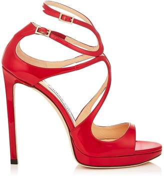 Jimmy Choo LANCE/PF 120 Red Patent Strappy Sandals