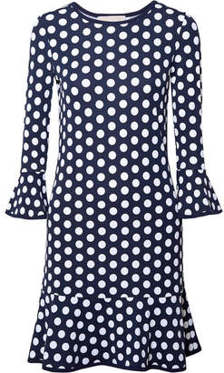 MICHAEL Michael Kors Polka-dot Stretch-jersey Mini Dress - Navy