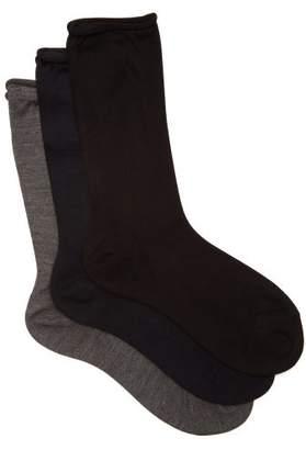Raey - Set Of Three Roll Top Silk Socks - Womens - Black Multi