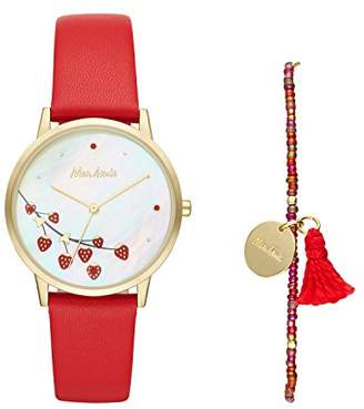 Mon Amie Women's Quartz Stainless Steel and Leather Watch and Bracelet Set - Supports School Lunches
