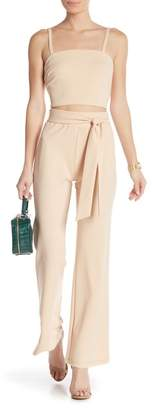 Material Girl Crepe Belted Flair Pants