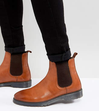 Asos DESIGN Wide Fit Chelsea Boots In Tan Leather With Ribbed Sole