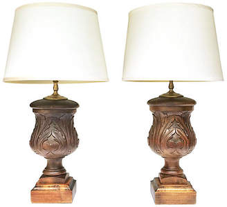 One Kings Lane Vintage Carved Acanthus Finial Table Lamps - Set of 2 - Antiquarian Art Company