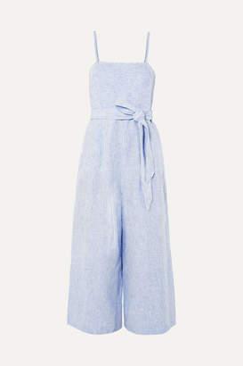 J.Crew Marseille Belted Striped Linen Jumpsuit - Blue